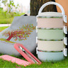 Stainless Steel Thermal Insulated Picnic Lunch Box Bento Food Container 3/4 Tier