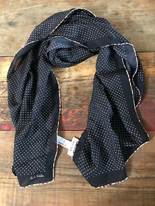 Paul Smith Silk Scarf In Black With White Mini Polkadots