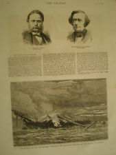 Burning of training ship HMS Warspite 1876 old print ref V