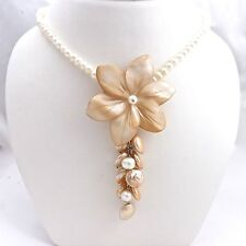 STERLING SILVER FRESH WATER MOTHER OF PEARL CARVED FLOWER PENDANT NECKLACE