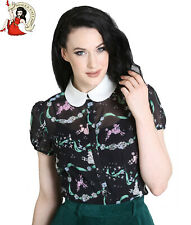 HELL BUNNY LEXIE POODLE BLOUSE 50s style CHIFFON black SHIRT TOP