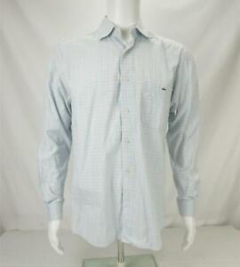 Lacoste Long Sleeve Button Down Shirt Plaid Blue/Orange Men's Size 40
