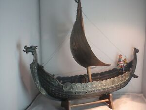 Big  vintage Bronze viking ship Denmark Danish Norse Vikings 15,7""