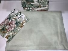 "Green Williams Sonoma linen Blend Tablecloth 14""x 20"" HemStitched"