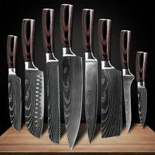 Kitchen Chef's Knife Set Damascus Pattern Stainless Steel Knife 8Pcs Value Set