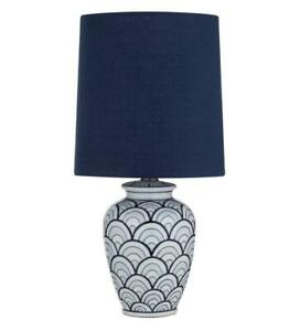 Society Home Eldon Table Lamp Blue/White 23x23x50cms