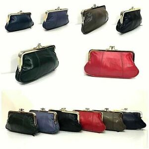 Womens Real Leather Wallet Coin Pouch Ladies Big Clip Top Clutch Clasp Purse Key