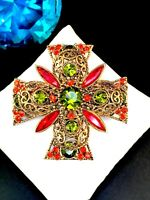 EMMONS GOLD-TONE FILAGREE BURNT ORANGE GREEN RHINESTONE MALTESE CROSS BROOCH