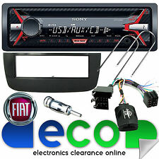 FIAT PUNTO EVO SONY STEREO AUTO CD MP3 USB & VOLANTE Interfaccia Kit Nero
