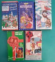 5pc VHS lot -Christmas Family Classics - old grade school cartoons x-mas FUN 1