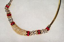 Vintage  14K Yellow Gold with 5.00ctw Diamond & Ruby Omega Necklace Italy Choker