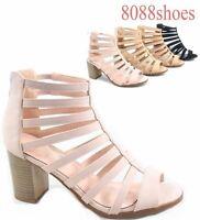 Women's Fahsion Open Toe  Zipper Chunky High Heel Sandals Shoes Size 5 - 10 NEW