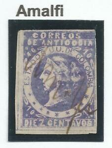 "STAMPS-ANTIOQUIA. 1882. 10c Violet on Laid Paper. SG: 36. ""Amalfi"" Pen Cancel"