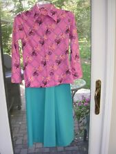 #F Vintage 70's Ladies Funky Disco outfit ~ Bell Bottom Pants& Print Shirt Sz 7