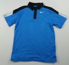 Nike Boys Polyester Dri Fit Short Sleeve Blue Activewear Polo Shirt Youth Medium