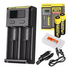 Nitecore i2 2016 Intellicharger Charger with 2x 18650s, Car Adapter & Organizer