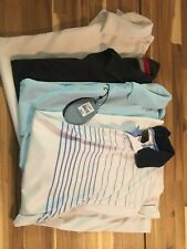 Mens Golf Shirts Lot Of 4 Size Large Greg Norman Nike Black White Blue Striped