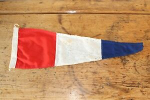 VINTAGE INTERNATIONAL SIGNAL 3 LINEN PENNANT FLAG RED WHITE BLUE 58CM X 19CM