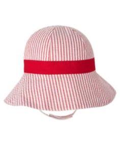 GYMBOREE TOO CUTE TULIP SEERSUCKER w/ RED BOW SUN HAT 0 3 6 12 18 24 NWT-OT