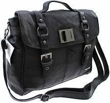 LORENZ COWHIDE REAL LEATHER CASE OFFICE SATCHEL MESSENGER CROSS BODY BAG BLACK