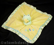 Carters Just One Year Frog Cutie Plush Security Blanket Yellow Green Satin Lovey