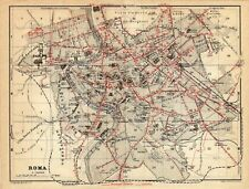 Antique map plan carte Rome Italy mappa Roma 1927