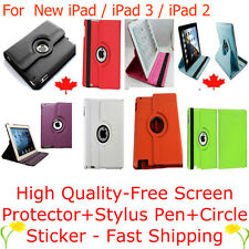 360° Rotating iPad 4 RETINA 3 / 2 SMART  Leather Cover Case + Screen Protector