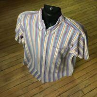 LL Bean Men's L-Reg Striped 100% Cotton Short Sleeve Button Down Shirt