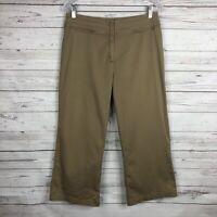 Chico's Womens Cropped Capri Pants Size 1 Medium Tan Cotton Blend Zip Pockets
