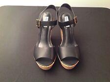 Steve Madden Esme Leather Size 11  Cork Wedge Heel Sandal Women's