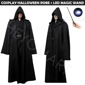 Medieval Vampire Polyester Hooded Cloak Long Robe Witch Capes Halloween Costume
