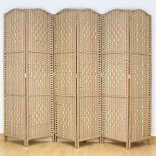Natural Brown 6 Panel Solid Weave Wicker Room Divider Hand Made Privacy Screen