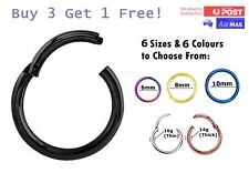 Titanium Hinged Sleepers Seamless Segment Clicker Septum Nose Ring Piercing Hoop