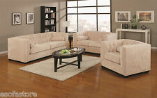 Alexis Beige Transitional Chesterfield Sofa Love Seat Living Room Furniture Set