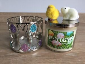 Bath & Body Works  3 Wick Happy Easter Candle Sparkly Holder & 2 Magnets