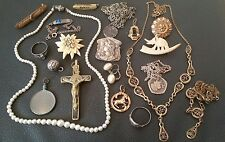 Lot 20 bijoux ancien av argent porte photo broche collier crusifix chaine silver