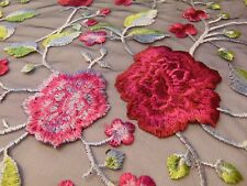 "Climbing Roses Embroidered FUCHSIA Lace Mesh Fabric 56"" Sold yard"