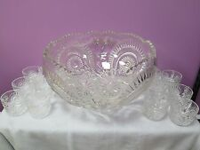 Punch Bowl + 12 Cups Vintage US Glass Slewed Horseshoe Radiant Daisy Pinwheel