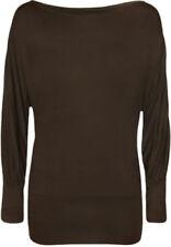 Magliette da donna a manica lunga marrone in cotone