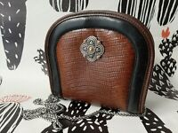 Brighton Small Brown Black Reptile Embossed Leather MultiPocket Crossbody Purse