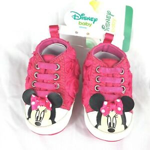 Disney Baby Minnie Mouse Shoes 3-6 Months Pink Flowers NEW With Tag