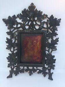 Antique Cast Metal Victorian oak Leaf Picture Frame Hanging
