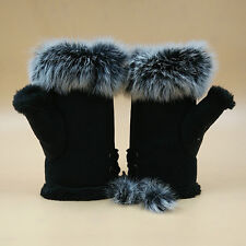 Black Women Fingerless Gloves Winter Warm Mittens Outdoor Accessory Gift