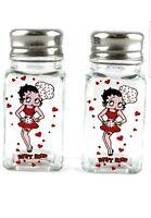 "Betty Boop ""Chef"" Salt & Pepper Shakers. Silver Lid, Clear Glass, Memorabilia"