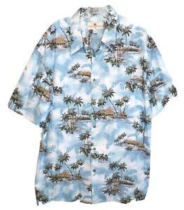 Island Shores Hawaiian Shirt Palm Trees Hut Leaves Mens XL w/Pocket