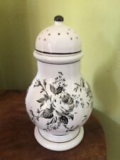 "Ralph Lauren 8.5"" Ceramic Ginger Jar Potpourri Urn Black Toile Roses Beautiful!"
