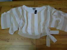 NWT Bebe striped beige/white open sleeve top size M