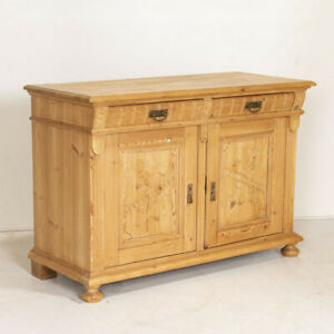 Antique Pine Sideboard from Denmark With Carved Panel Doors