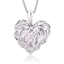 Fashion Women Silver Plated Heart Bib Statement Chain Pendant Necklace Jewelry