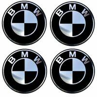 4 adhésifs sticker BMW noir & chrome de 35 à 100 mm pour centre de jantes